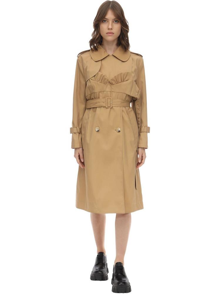 SIMONE ROCHA Bustier Cotton Blend Twill Trench Coat in tan
