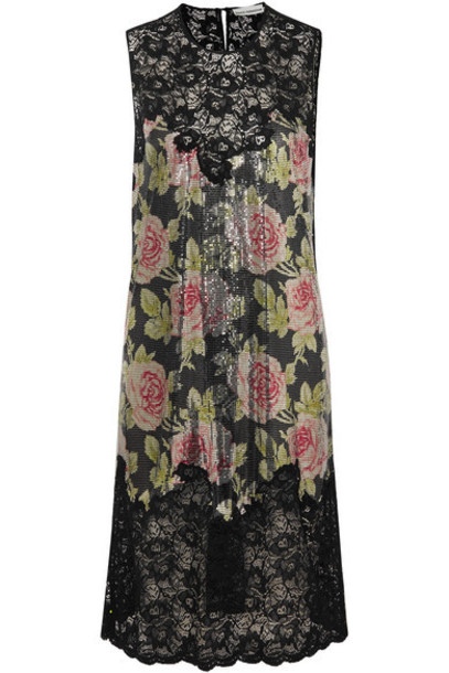 Paco Rabanne - Floral-print Chainmail And Corded Lace Dress - Black