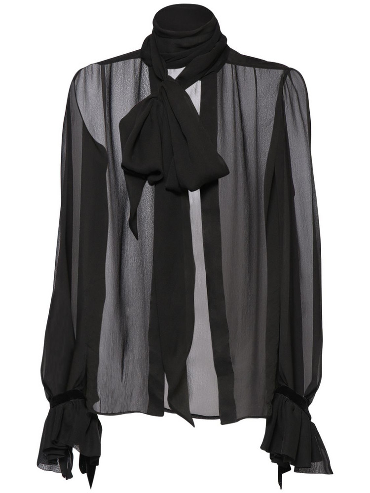 SAINT LAURENT Sheer Silk Muslin Shirt W/ Bow Collar in black