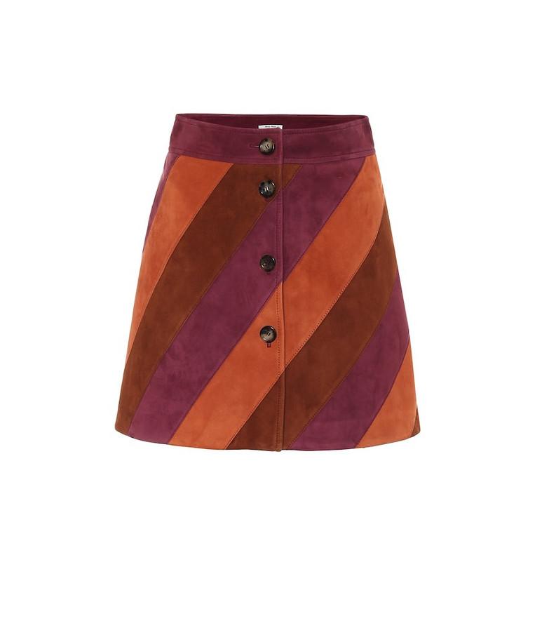 Miu Miu Striped suede miniskirt in pink