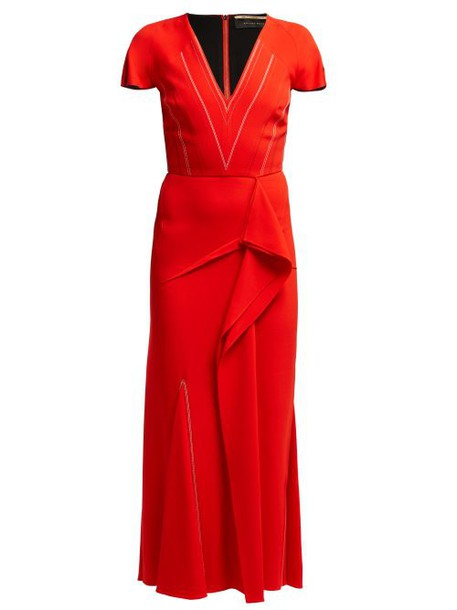 Roland Mouret - Bates Draped Crepe Dress - Womens - Red Multi