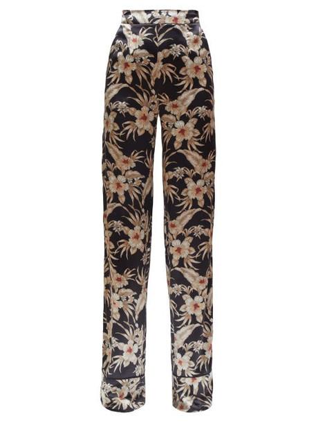 Altuzarra - Bani Hawaiian Print Charmeuse Trousers - Womens - Black Print