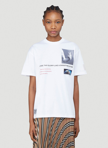 Burberry Oversized Montage Print T-Shirt in White size XS
