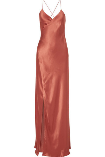 Michelle Mason - Silk-satin Wrap Gown - Brick