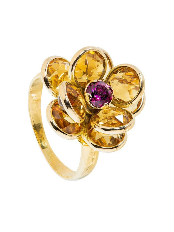 GUITA M 18kt yellow gold, citrine and rhodolite flower ring