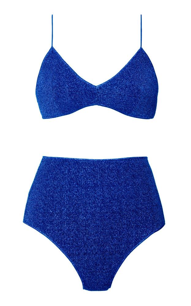 Oseree Lumière Stretch-Lurex Bikini Set in blue