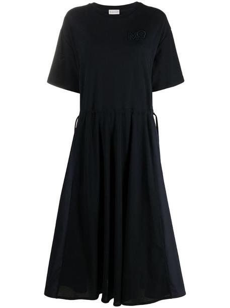 Moncler short sleeve midi dress in blue