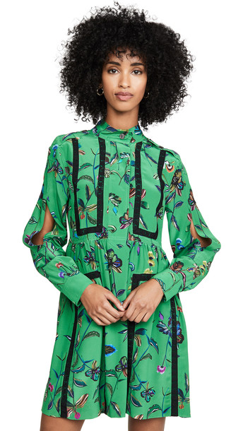 Derek Lam 10 Crosby Long Sleeve Placket Shirt Dress in emerald