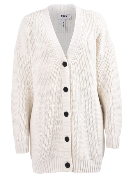 MSGM Oversized Cardigan in white