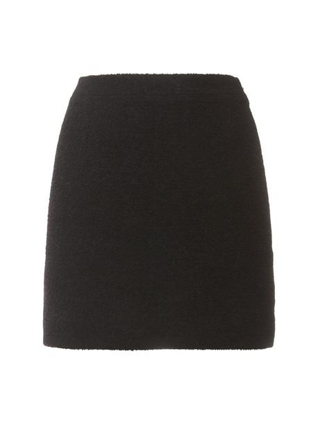 ALESSANDRA RICH Wool Blend Tweed Bouclé Mini Skirt in black