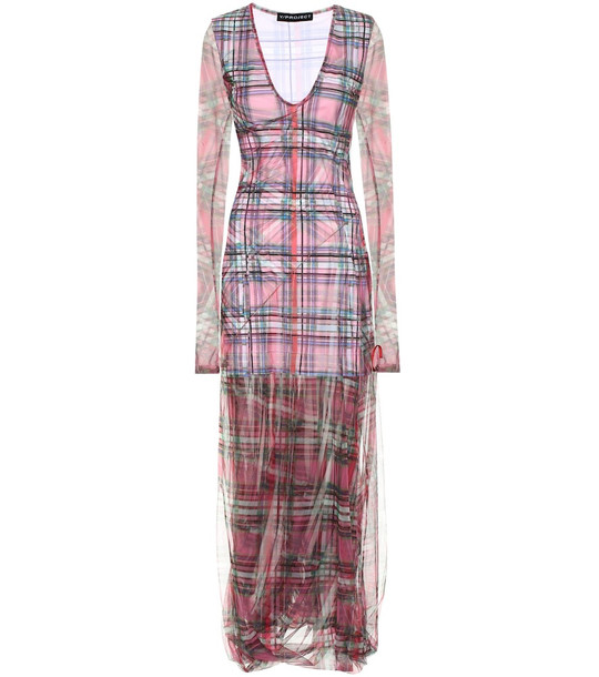 Y/PROJECT Checked stretch-cotton dress in pink