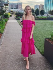 dress,ruffle,ruffle dress,lauren bushnell,celebrity,midi dress,instagram,off the shoulder dress,pink dress