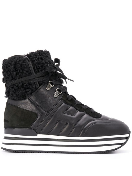Hogan logo sneaker boots in black