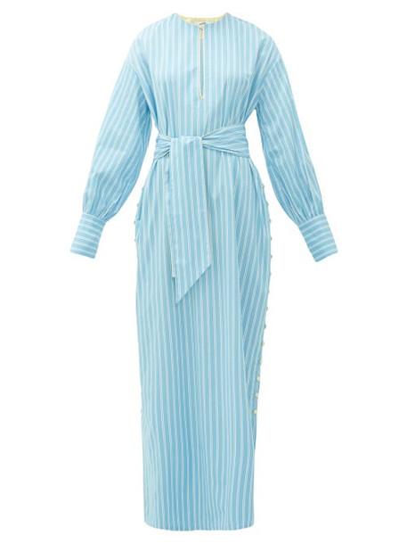 Evi Grintela - Heather Striped Cotton Kaftan Dress - Womens - Blue Stripe