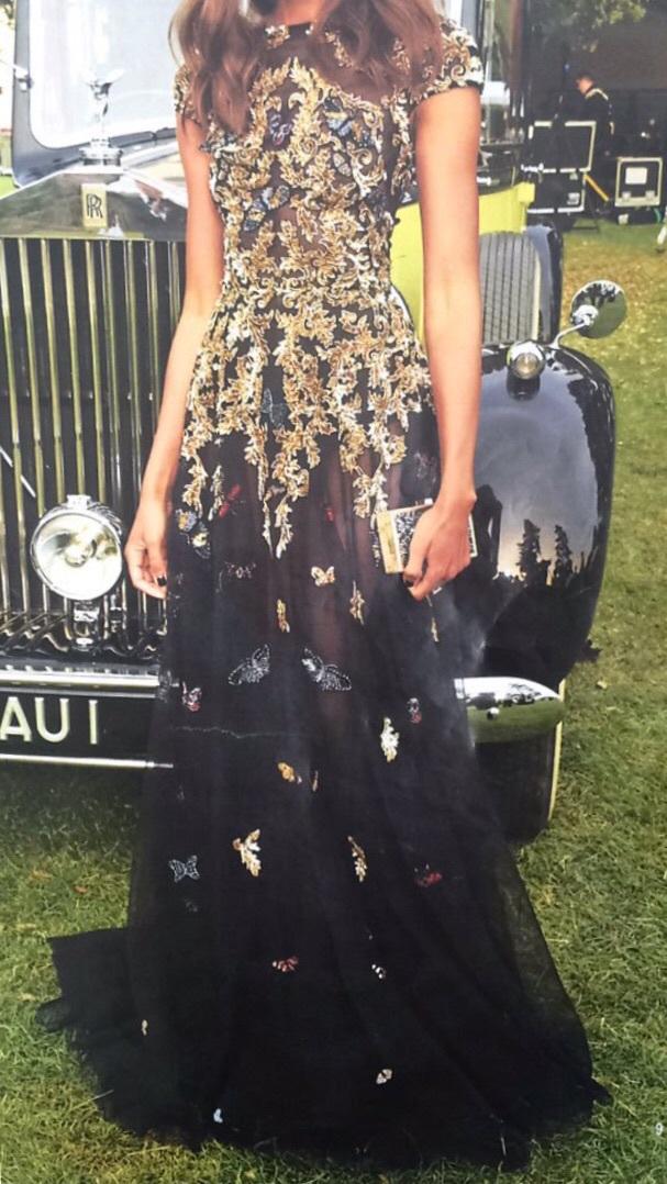 dress black dress embroidered gold mesh