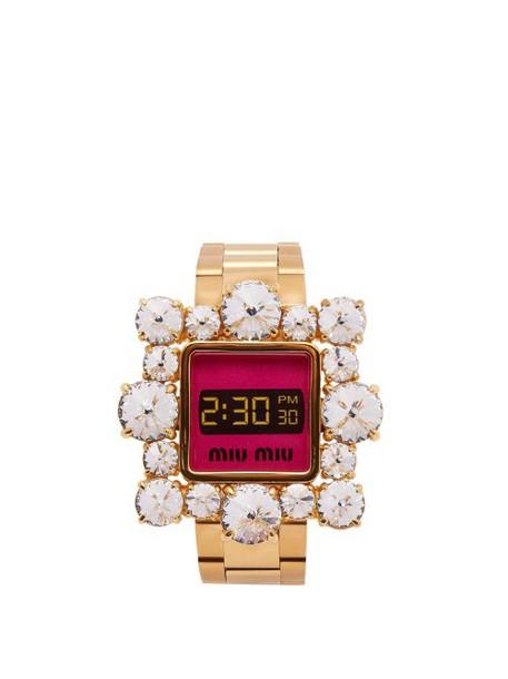 Miu Miu - Crystal Embellished Watch Bracelet - Womens - Gold