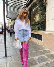 shoes,over the knee boots,mini skirt,denim skirt,white shirt,white bag