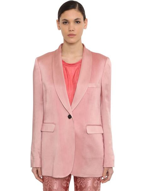 ANN DEMEULEMEESTER Oversized Satin Blazer Jacket in pink