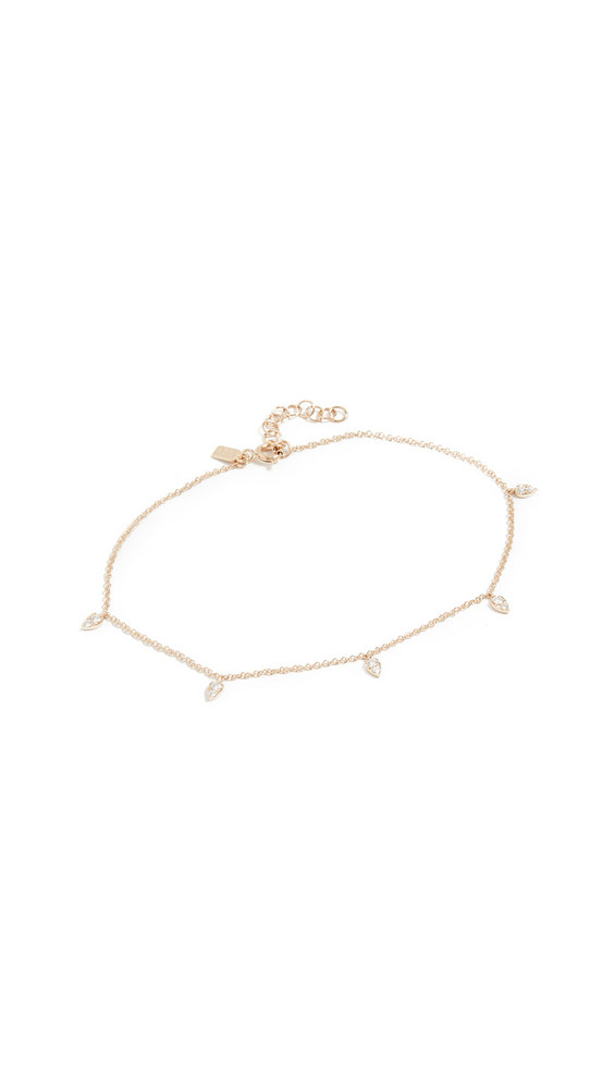 EF Collection 14k Diamond Mini Teardrop Chain Anklet in gold / yellow