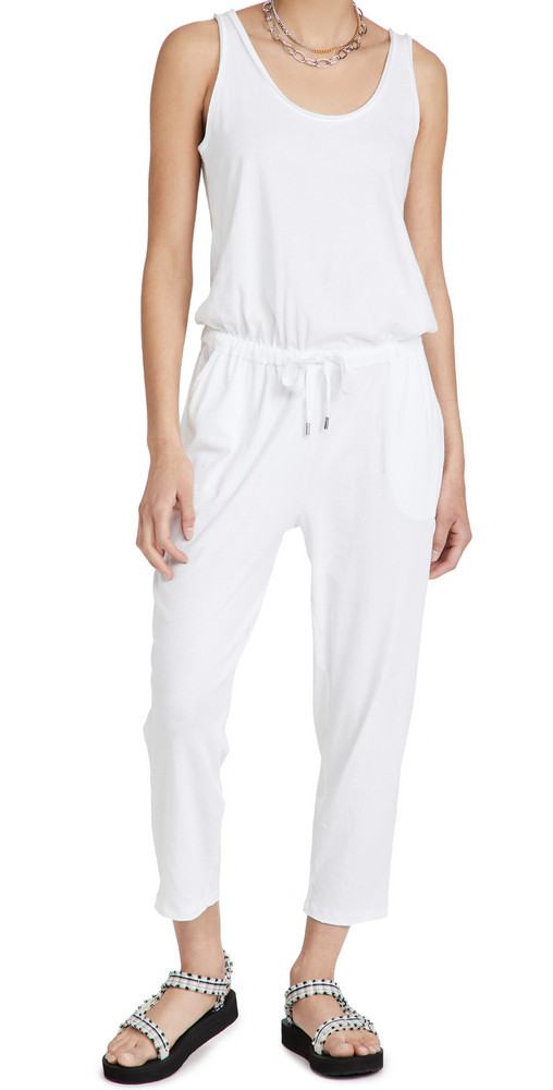 ATM Anthony Thomas Melillo High Torsion Jersey Tank Jumpsuit in white