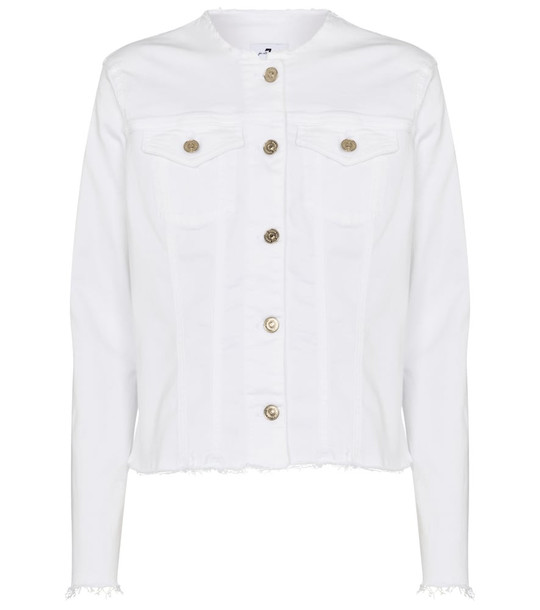 7 For All Mankind Collarless stretch-denim jacket in white