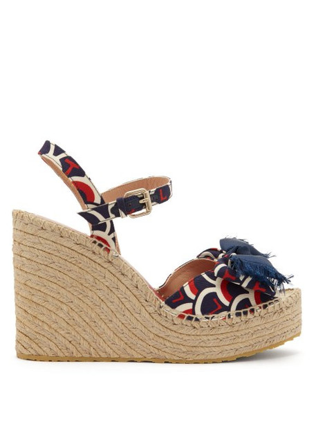 Valentino - Scale Print Canvas Twill Espadrille Wedges - Womens - Blue Multi