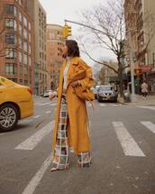 pants,flare pants,high waisted pants,pumps,trench coat,yellow coat,white turtleneck top,zimmermann,yellow bag,coat,model,model off-duty,streetstyle,style scrapbook,style,streetwear,fashion vibe,fashion,instagram,colorful,colorblock