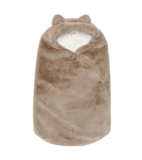 Bonpoint Balou faux fur bunting bag in brown