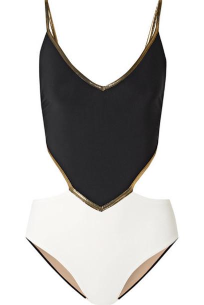 ZeusDione - Metallic-trimmed Cutout Swimsuit - Black