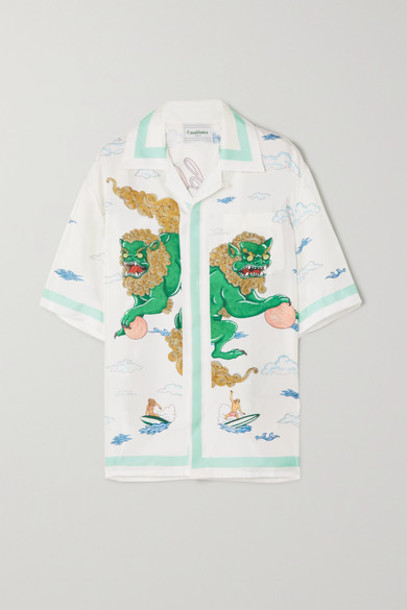 Casablanca - Printed Silk Shirt - White