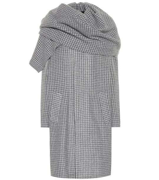 Balenciaga Checked wool-blend coat in grey