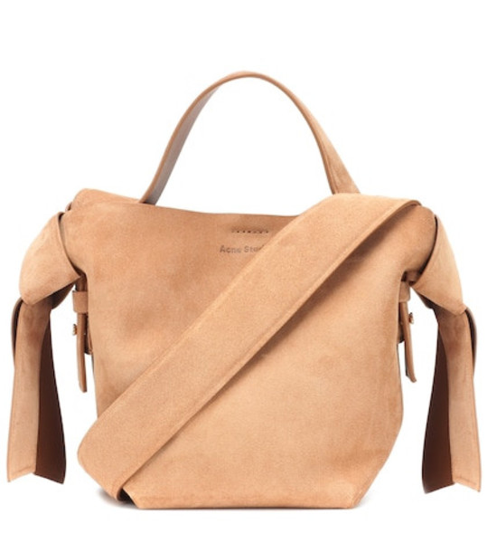 Acne Studios Musubi Mini suede shoulder bag in beige / beige