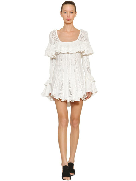 SELF-PORTRAIT Ruffled Cotton Knit Mini Dress in white