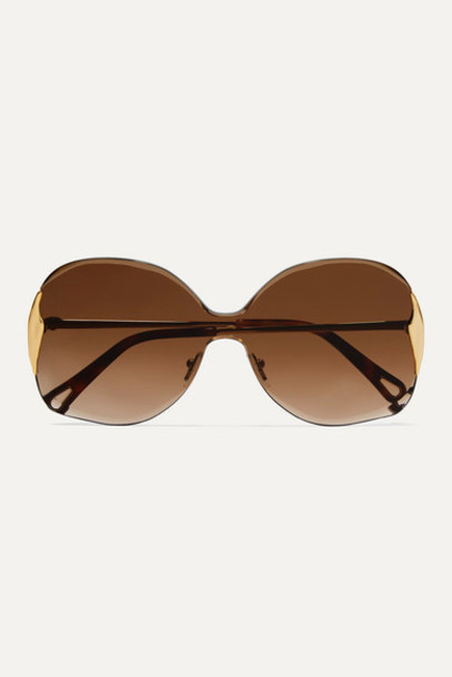 Chloé Chloé - Curtis Square-frame Gold-tone And Tortoiseshell Acetate Sunglasses - Brown