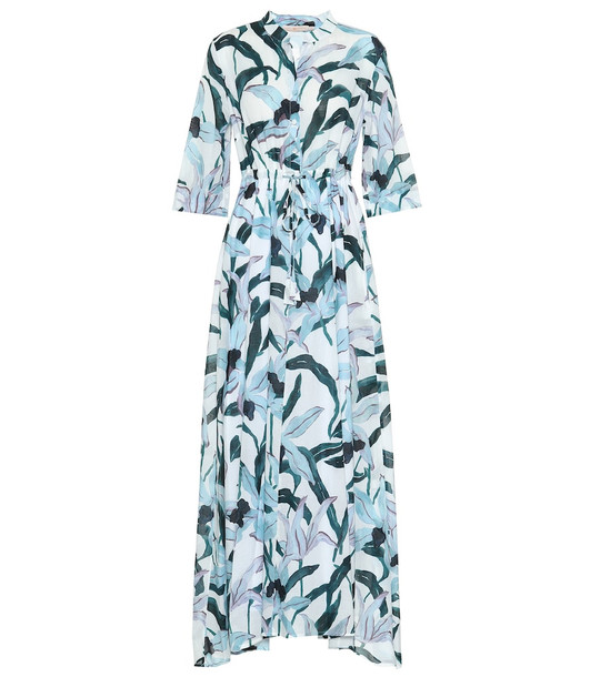 Tory Burch Floral cotton-voile shirt dress in blue