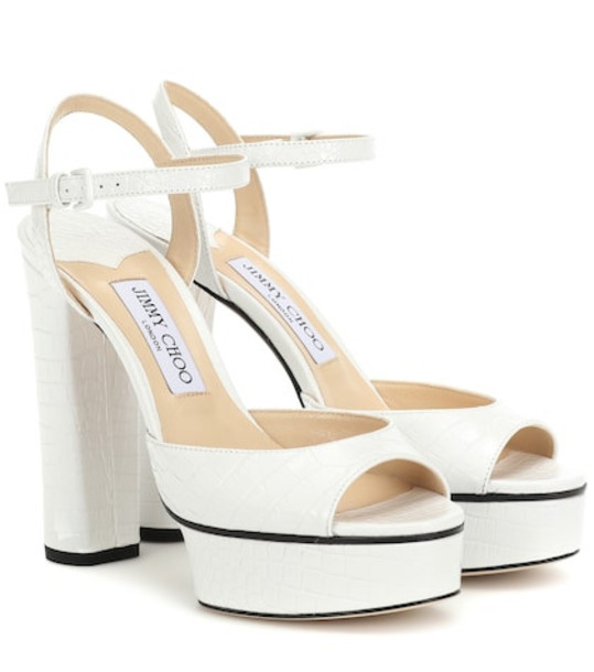 Jimmy Choo Peachy 125 leather plateau sandals in white