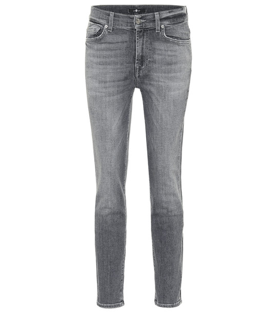 7 For All Mankind Roxanne mid-rise slim jeans in grey
