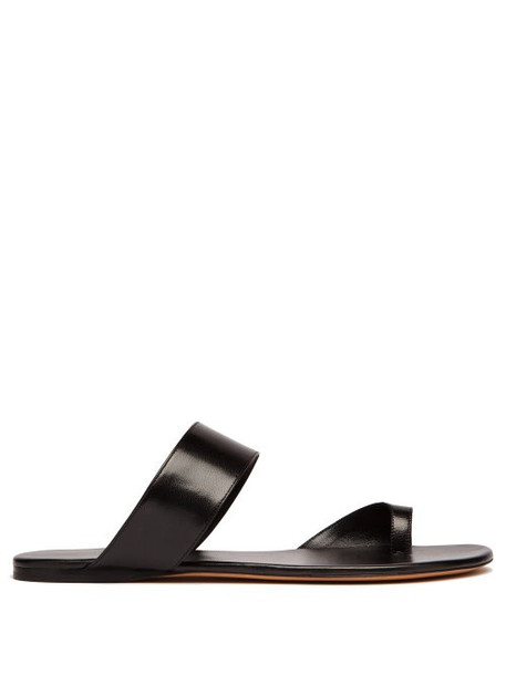 The Row - Infradito Leather Slides - Womens - Black