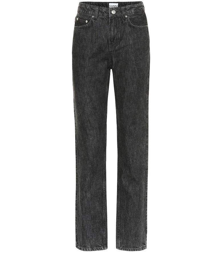 Ganni High-rise straight jeans in black