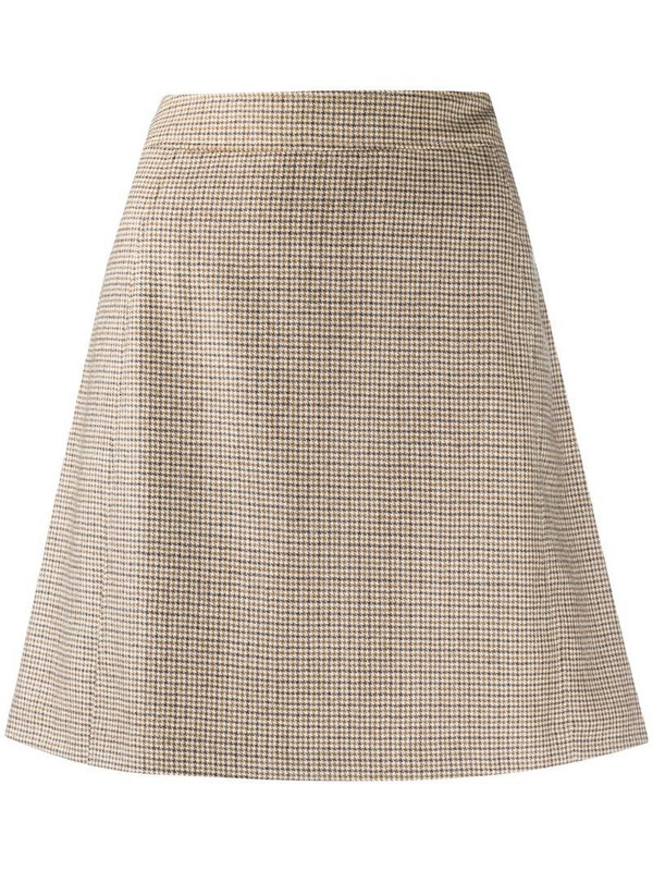 A.P.C. Sonia houndstooth A-line mini skirt in neutrals