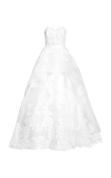Carolina Herrera The Adeline Floral-Embroidered Gown in white