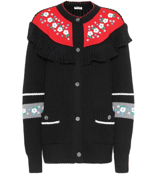 Miu Miu Floral virgin wool sweater in black
