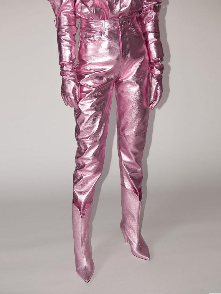 THE ATTICO Lvr Exclusive Lamé Leather Pants in pink