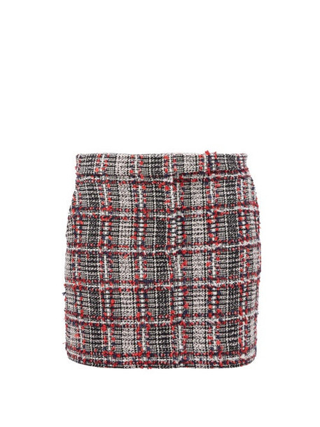 Thom Browne - Prince Of Wales Checked Tweed Mini Skirt - Womens - Red Multi