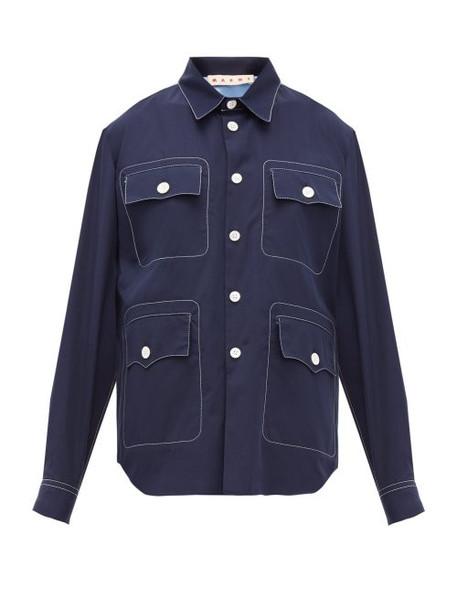 Marni - Topstitched Patch Pocket Cotton Poplin Shirt - Womens - Navy