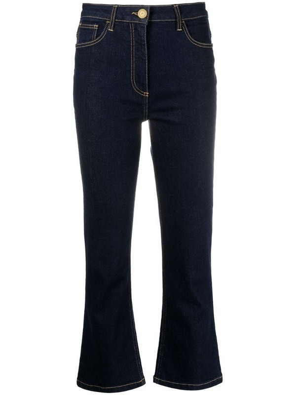 Elisabetta Franchi flared cropped jeans in blue