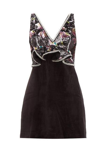 Self-portrait - Floral Sequinned Velvet Mini Dress - Womens - Black Multi