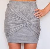 skirt,grey wrap skirt,gray wrap skirt