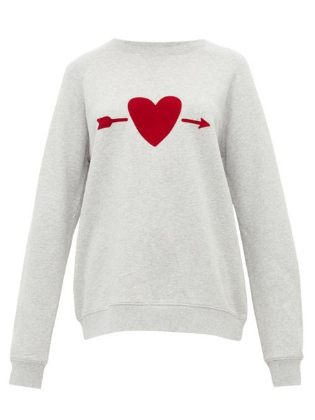 The Upside - One Love Heart Print Cotton Sweatshirt - Womens - Grey