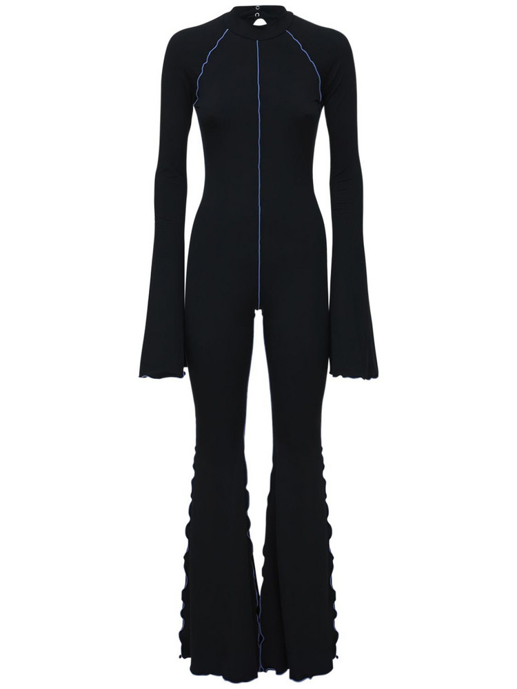 FANTABODY Dani Flared Recycled Jersey Jumpsuit in black